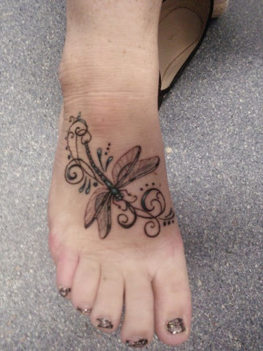 Woman Right Foot Dragonfly Tattoo