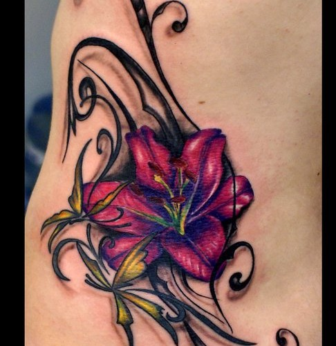 Amazing Lily Flower Tattoo On Side