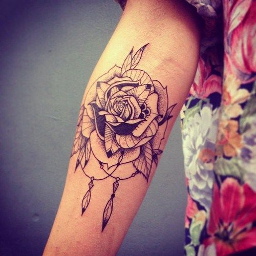 Arm Sleeve Rose Flower Tattoo