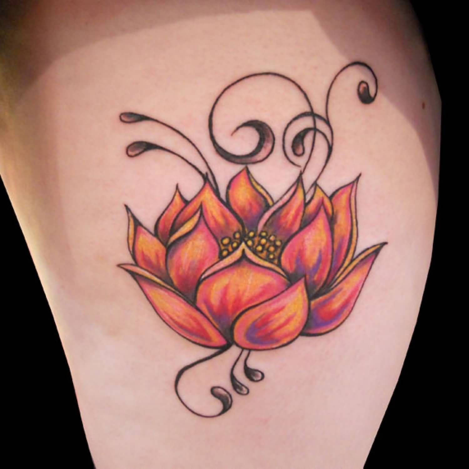 Color buddha and lotus flower tattoo on side awesome color lotus flower tattoo on side leg mightylinksfo