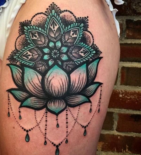 Beautiful Lotus Flower Tattoo On Side Thigh