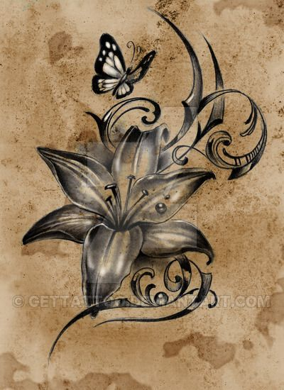 Black And Grey Flower Tattoos Design