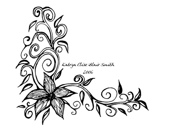 Black Flower Tattoo Design