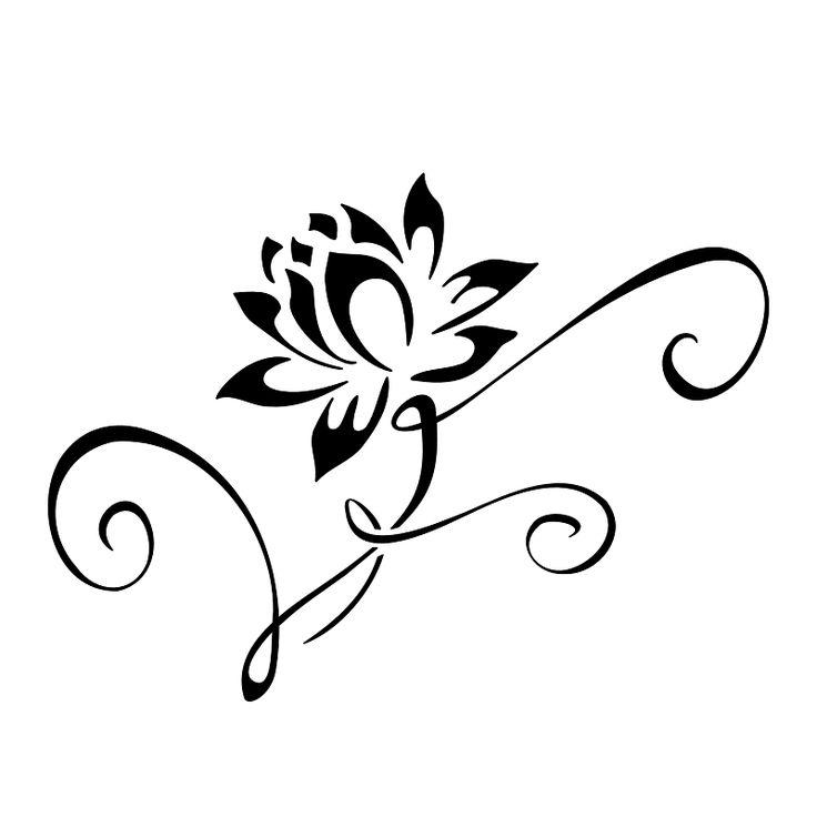 Black Tribal Lotus Tattoo Design