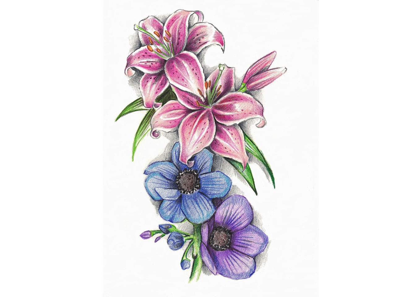 Blue flowers and lily flowers tattoo design izmirmasajfo