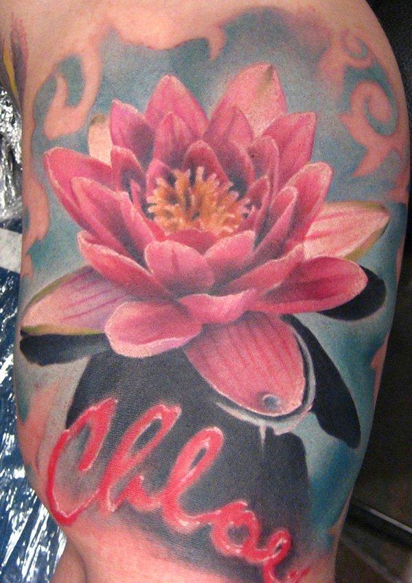 Colored lotus flower tattoo on side leg mightylinksfo