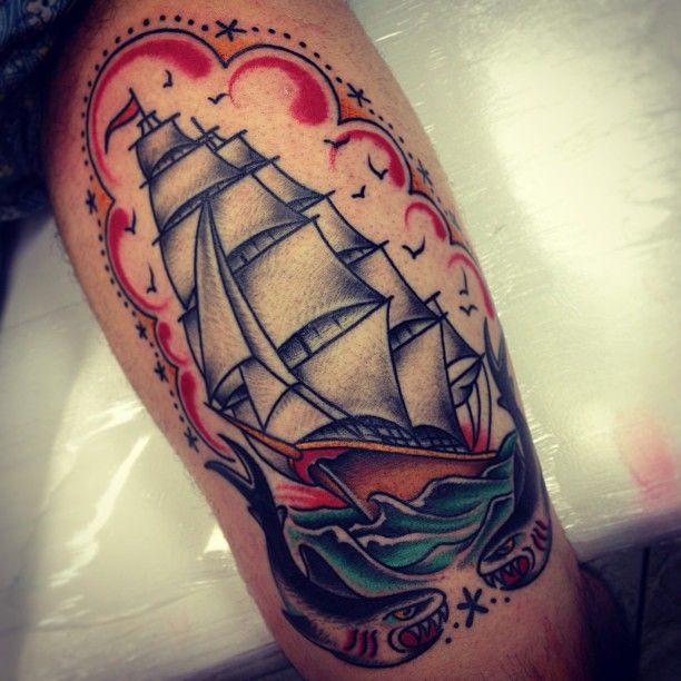 Colored Sailor Ship Tattoo On Thigh