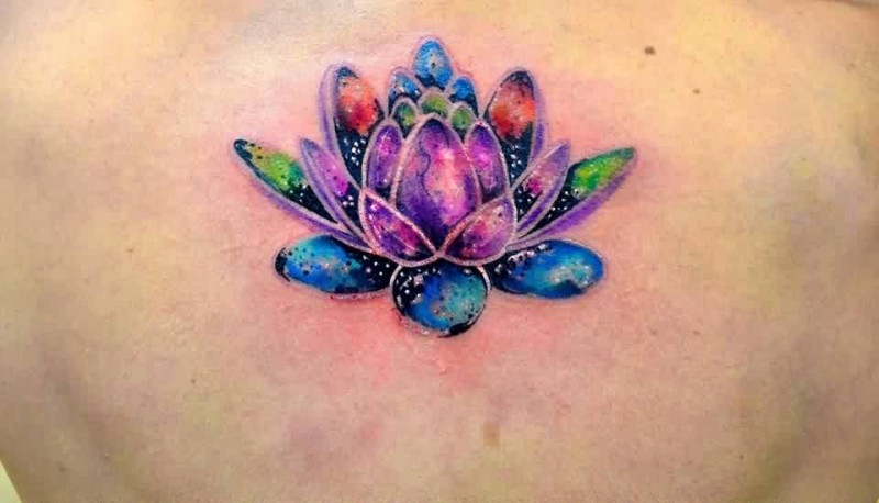 Colorful lotus tattoo on back mightylinksfo Images
