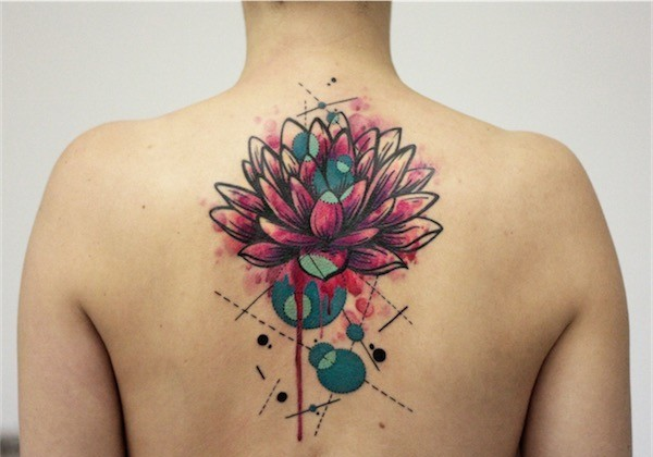 Colorful Lotus Tattoo On Upper Back