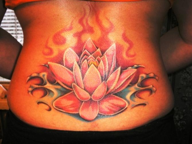 Lower Back Lotus Flower Tattoo Idea