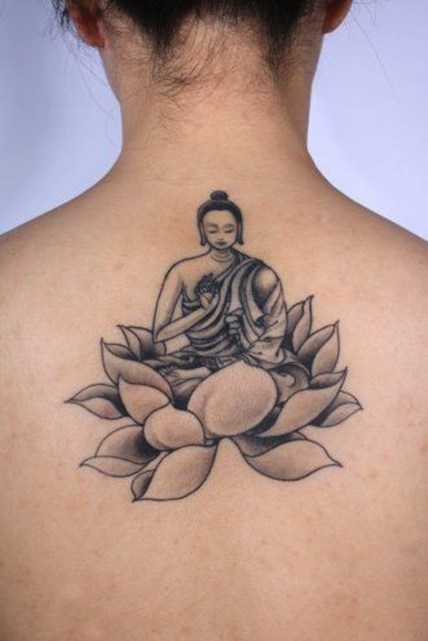 Grey ink buddha and lotus flower tattoo on upper back mightylinksfo