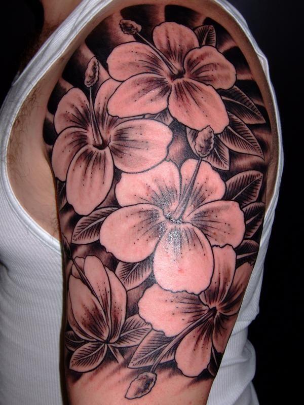 b4a782d72 Grey Lily Flowers Tattoo On Left Half Sleeve