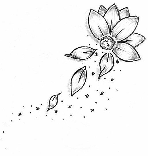 Tattoo Outlines Flowers Black And White: Grey Outline Flowers Tattoos Design