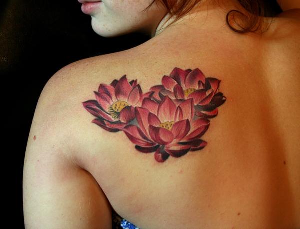 Left Back Shoulder Lotus Flower Tattoos For Girls