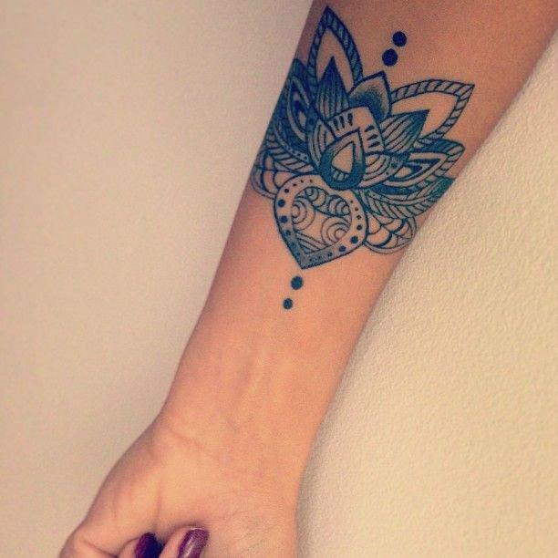 Mandala Forearm Lotus Flower Tattoo