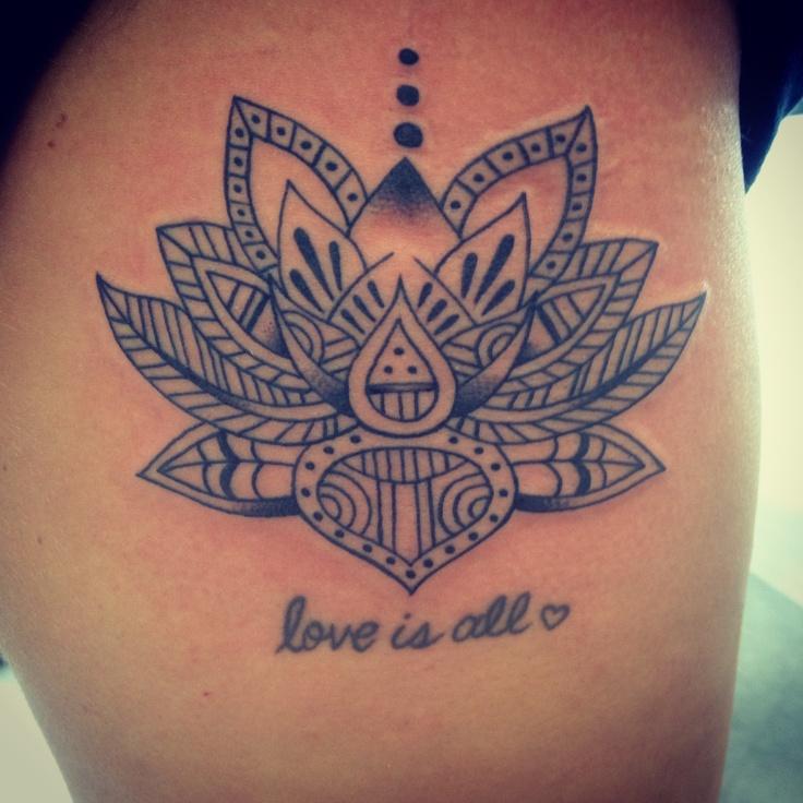 Mandala Lotus Tattoo On Side Thigh