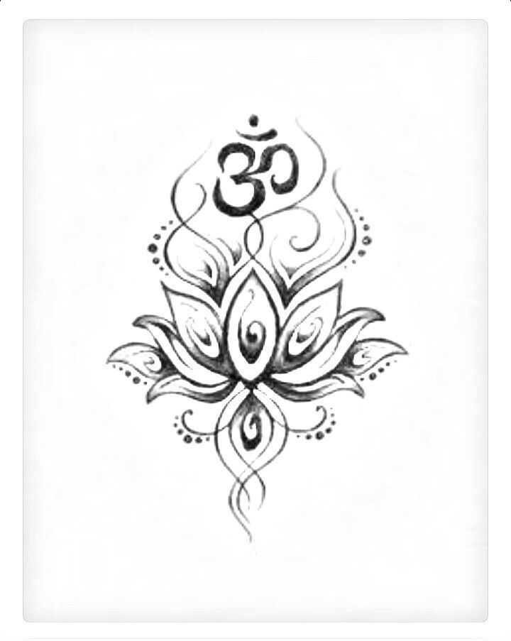 Om Symbol And Lotus Tattoo Design