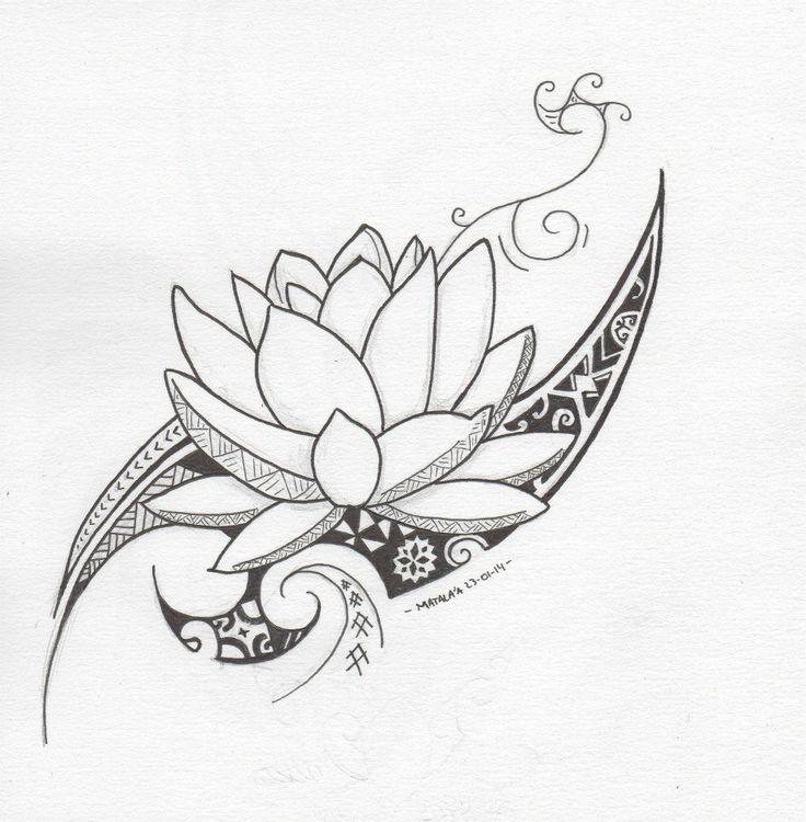 Outline Tribal Lotus Tattoo Design