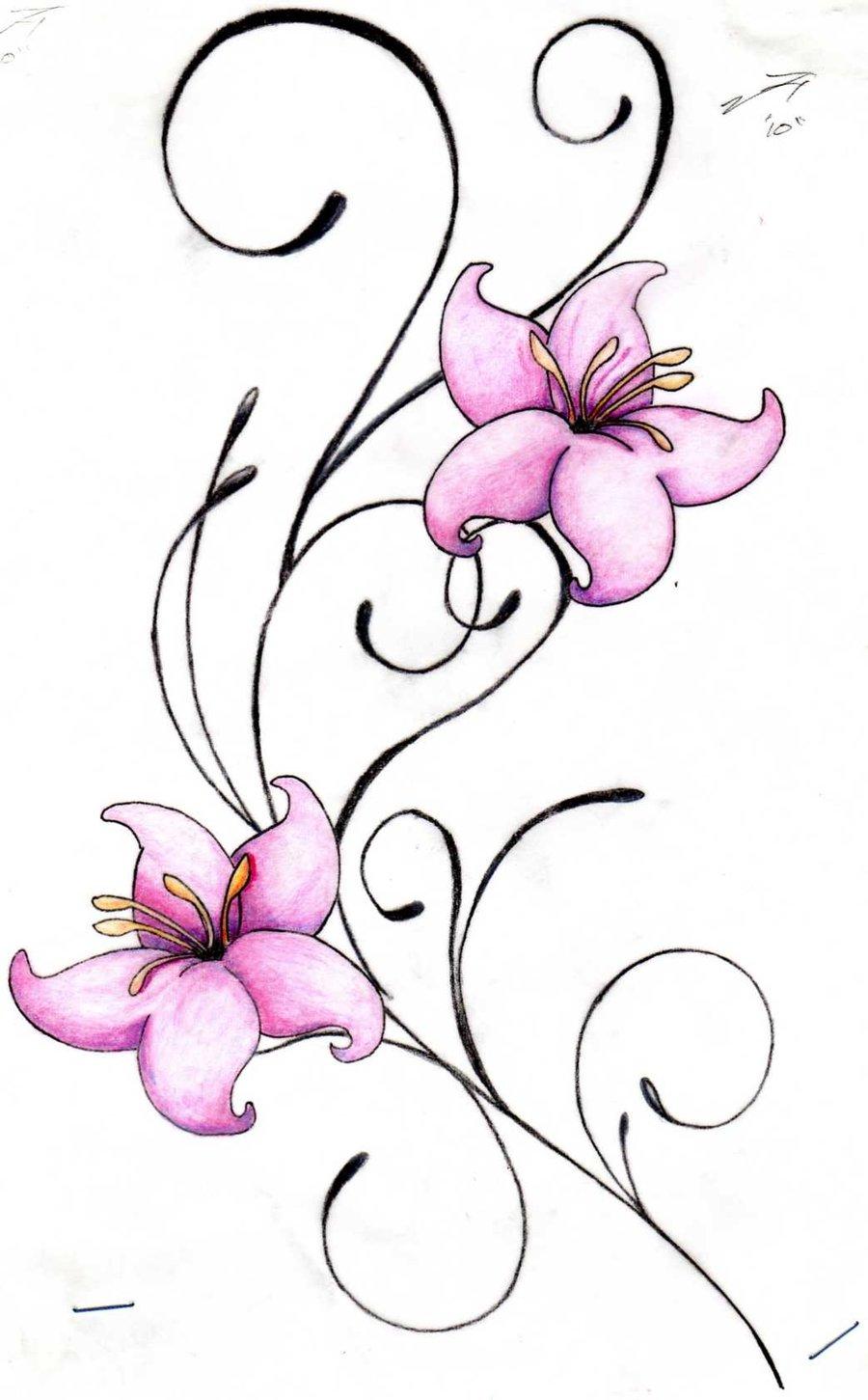 Pink Lily Flower Tattoo Design Sample