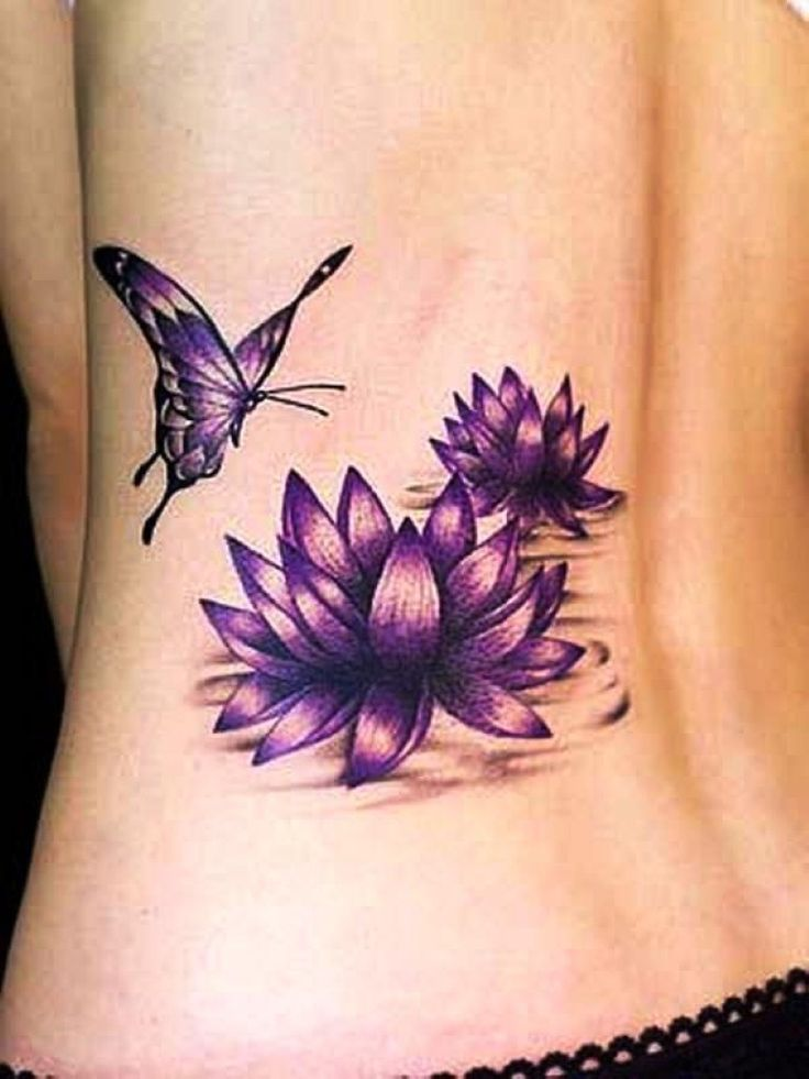 Purple butterfly and lotus tattoos on lower back mightylinksfo