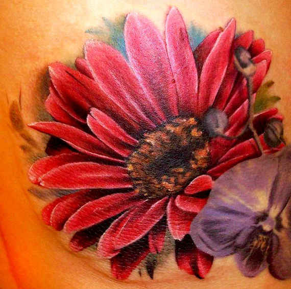 Red Flower Tattoo On Back