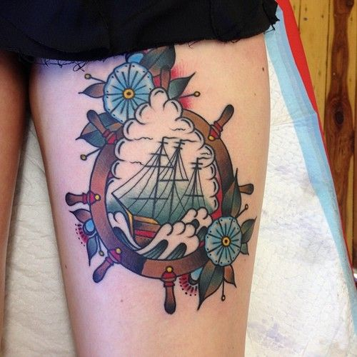 Traditional Ship Tattoo On Left Thigh