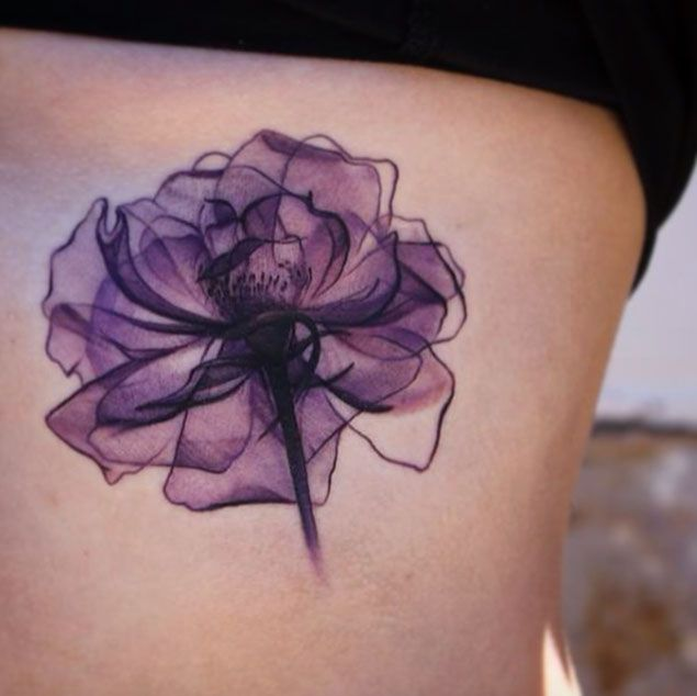 Watercolor Flower Tattoo On Girl Side Rib