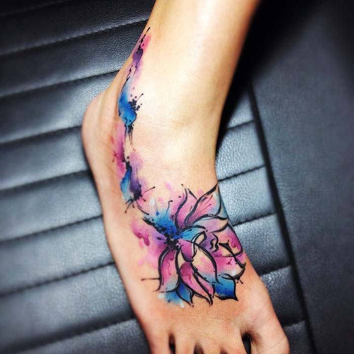 Watercolor Lotus Flower Tattoo On Forearm