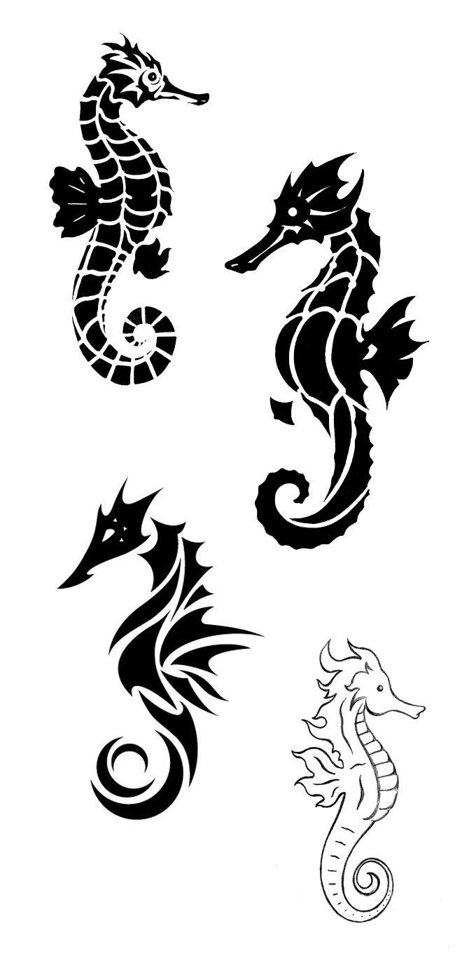 Black Seahorse Tattoos On Side Leg