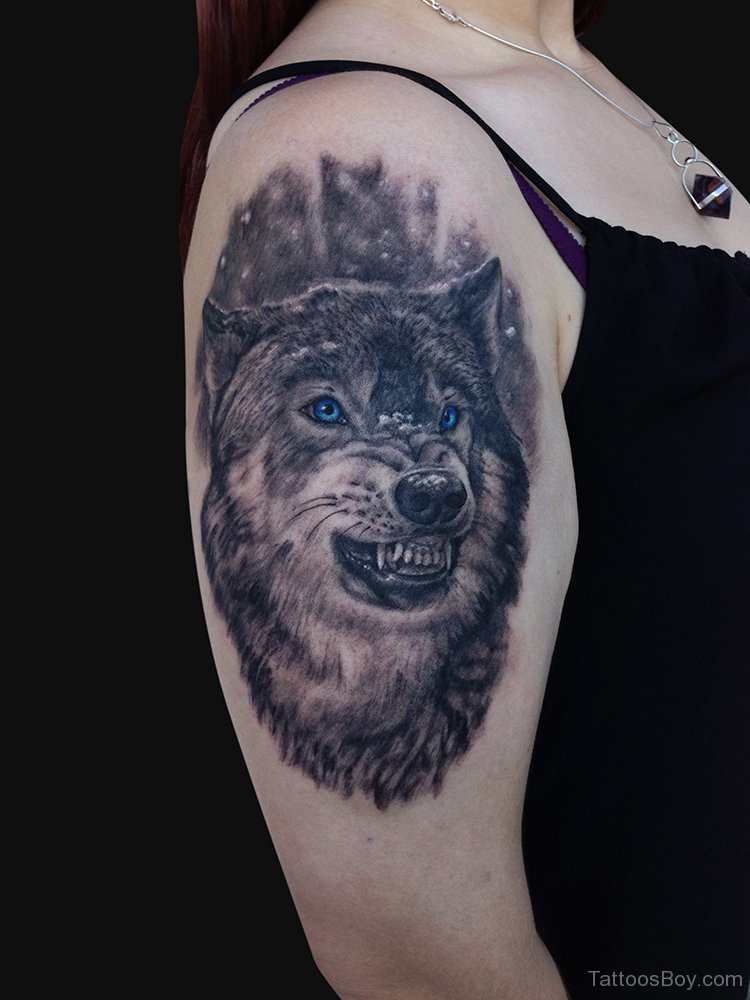 Wolf With Blue Eyes Tattoo