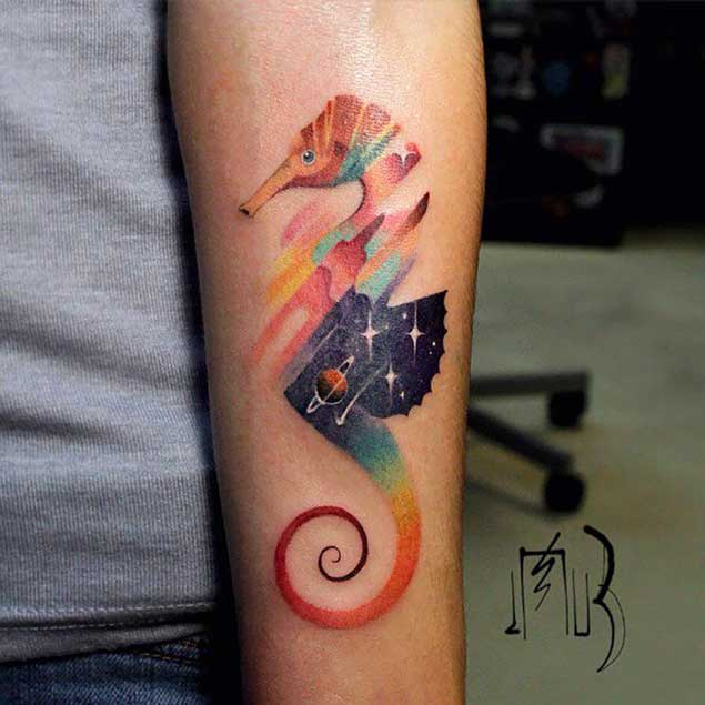 Colored Seahorse Tattoo On Left Forearm