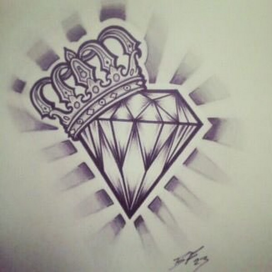 Diamond And Wing Tattoo Design
