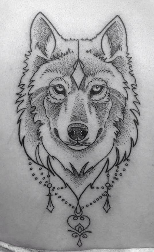 Dotwork wolf head tattoo design sample for Sample of tattoo design