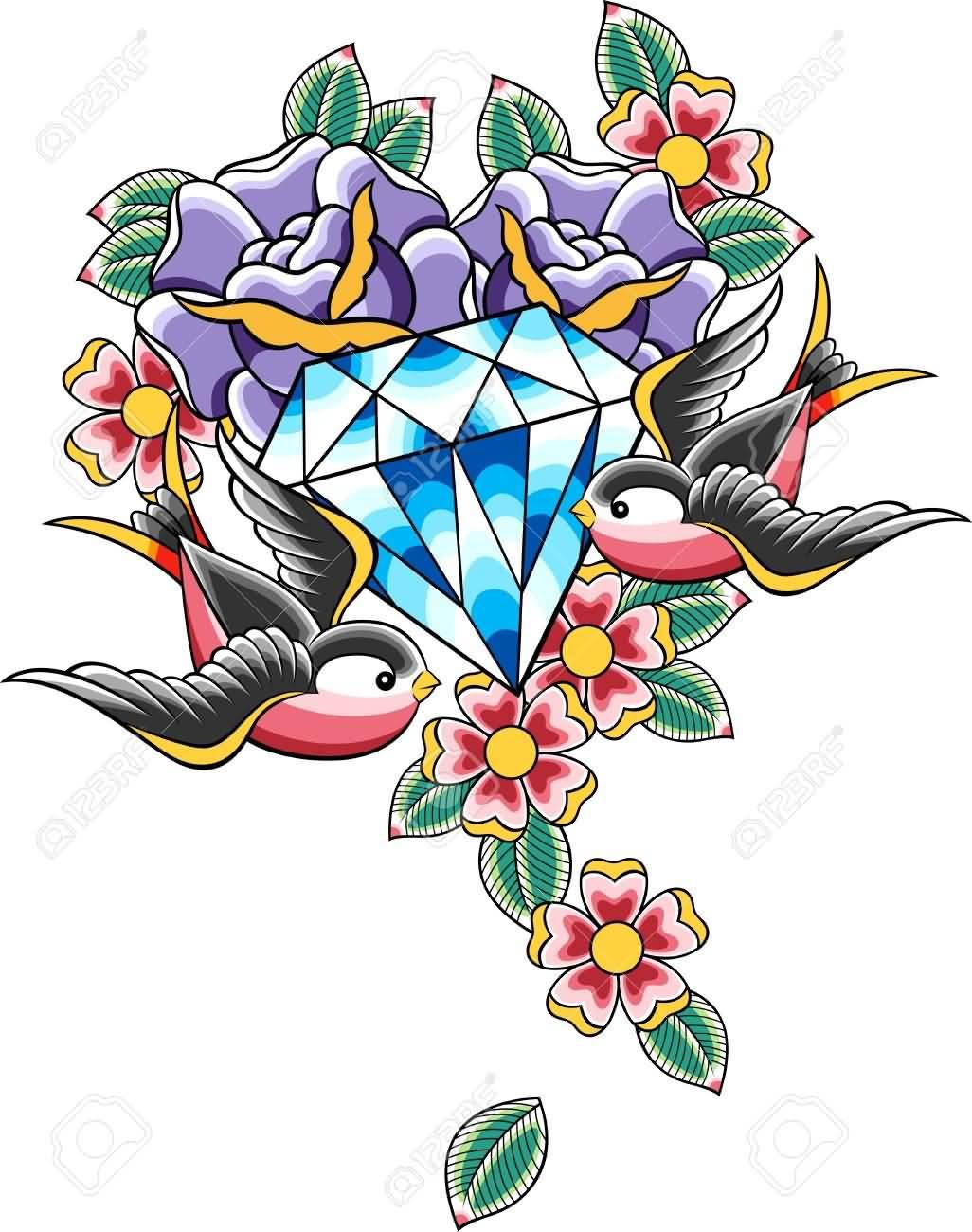Тату бриллианта с цветами