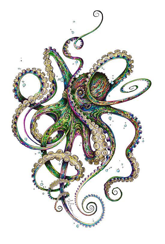 green ink octopus tattoo design. Black Bedroom Furniture Sets. Home Design Ideas