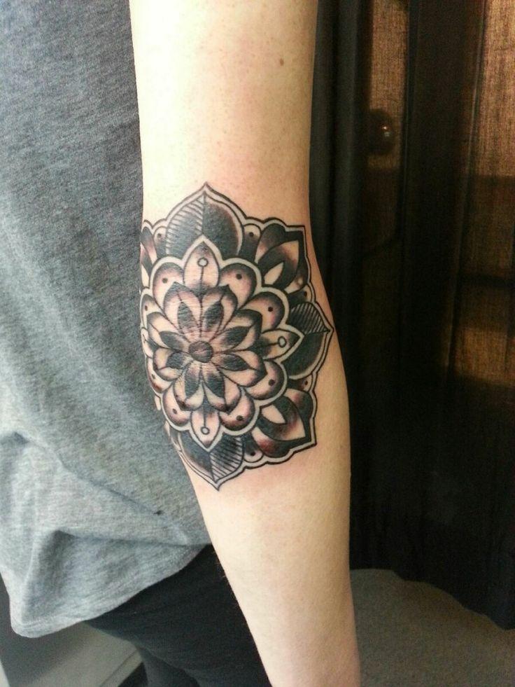 c2b039bb86271 Grey Ink Mandala Flower Tattoo On Right Arm