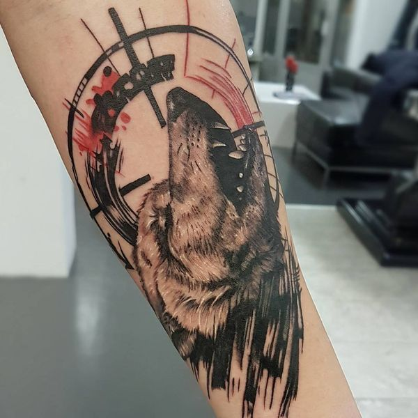 Left Forearm Howling Wolf Tattoo