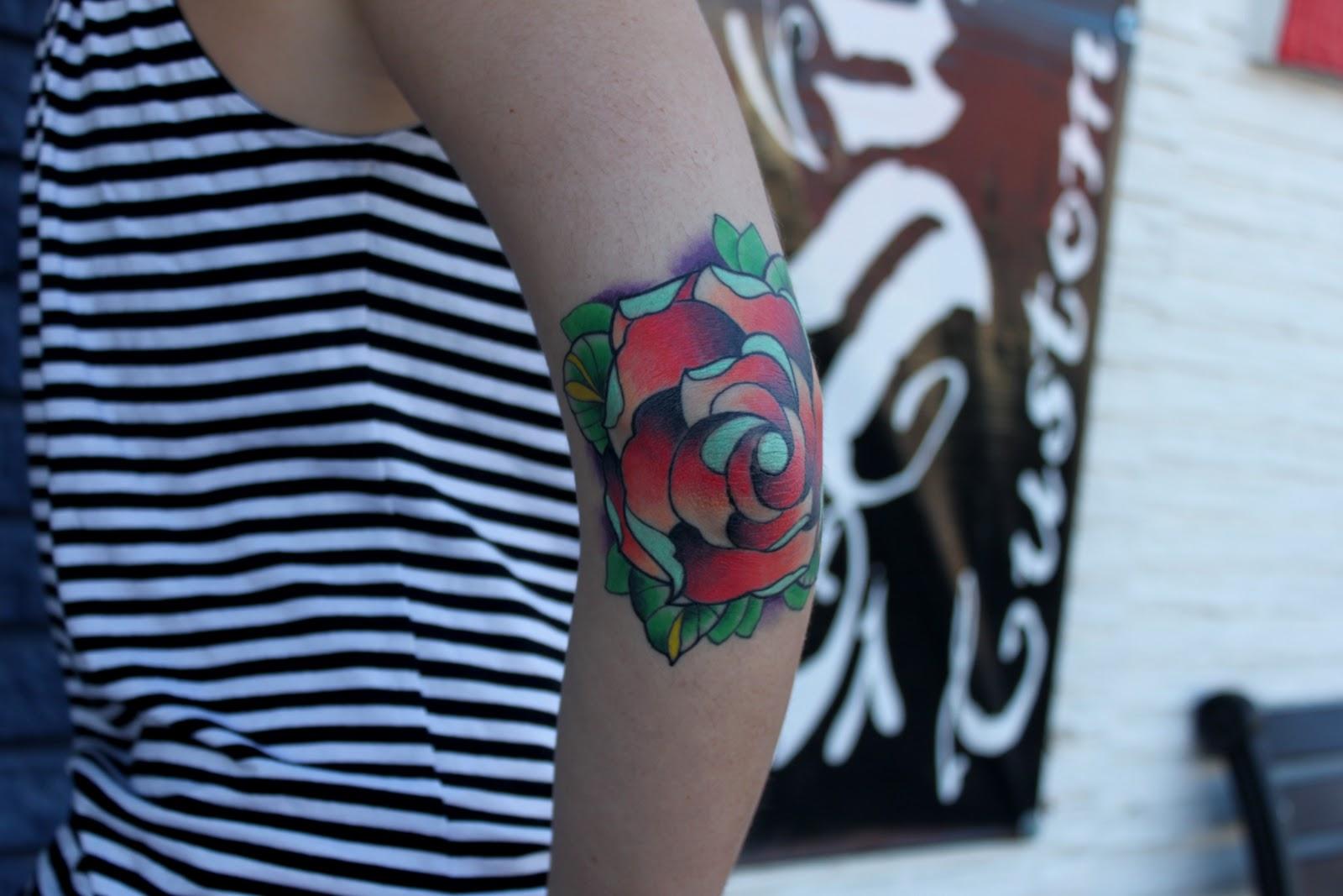 Left Sleeve Rose Tattoo On Elbow