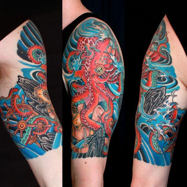 Man Left Half Sleeve Octopus Tattoo