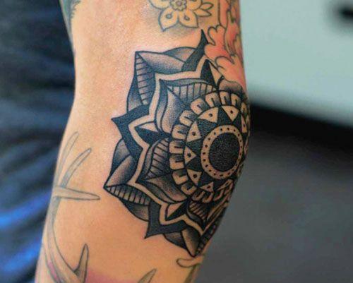 Mandala Flower Tattoo On Elbow For Men
