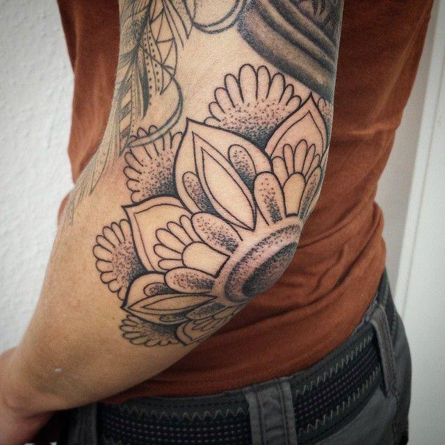 Mandala Flower Tattoo On Left Elbow