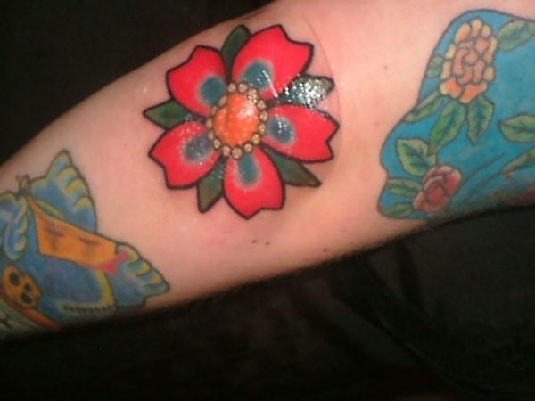Nice Cherry Blossom Flower Tattoo On Elbow