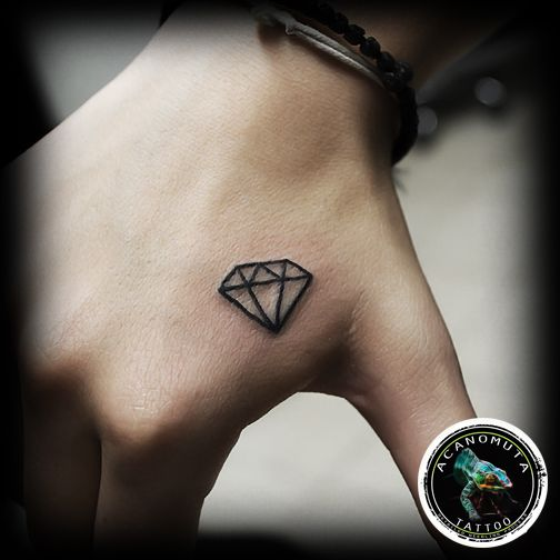 Nice Small Diamond Tattoo On Right Hand