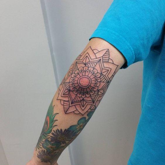 Outline Mandala Flower Elbow Tattoo On Sleeve