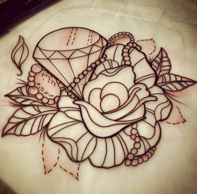 Outline Rose And Diamond Tattoo Design Sample