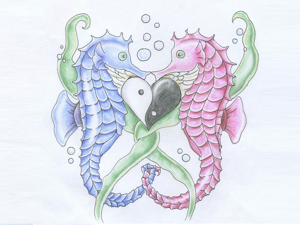 purple and pink ink seahorse tattoos designs
