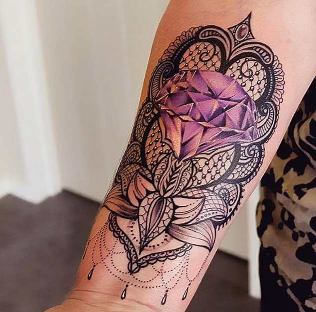 Purple Diamond And Mandala Tattoo On Forearm