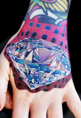 Realistic Left Hand Diamond Tattoo