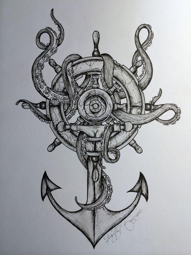 Sailor Anchor Octopus Tattoo Design