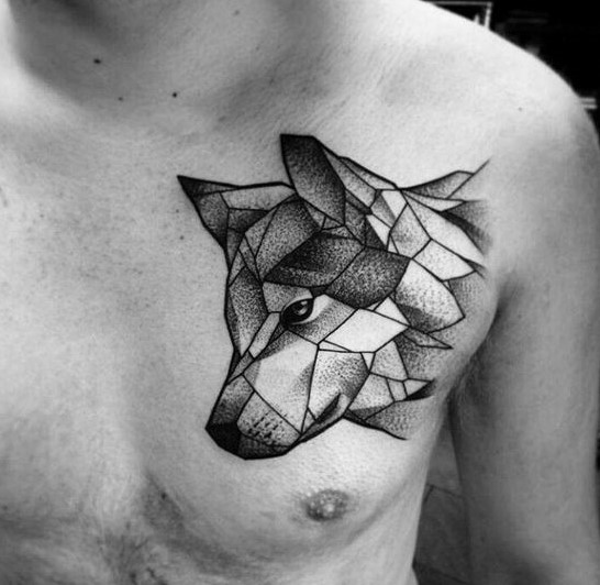 Abstract Geometric Wolf Tattoo